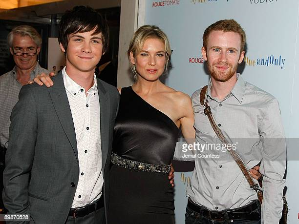 Logan Lerman Renee Zellweger and Mark Rendall attend the premiere of 'My One And Only' at the Paris Theatre on August 18 2009 in New York City