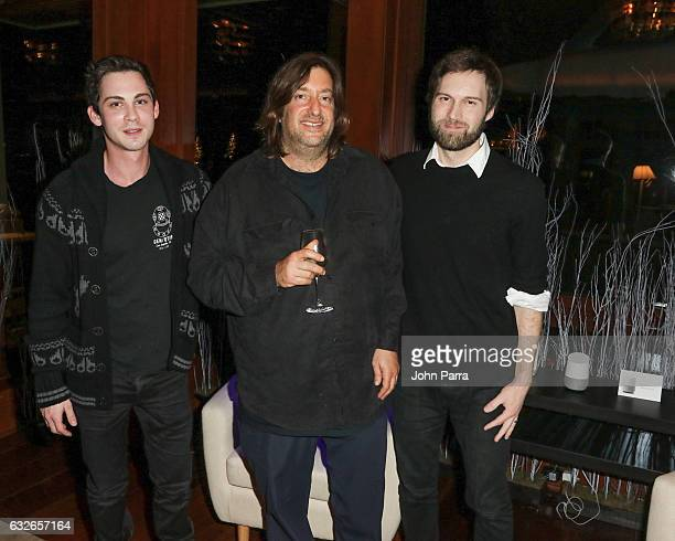Logan Lerman Shawn Christensen and Jonathan Schwartz attend the GOOGLE HOME Super Crispy Films celebrate 'Sidney Hall' at the home of Barry Amy Baker...