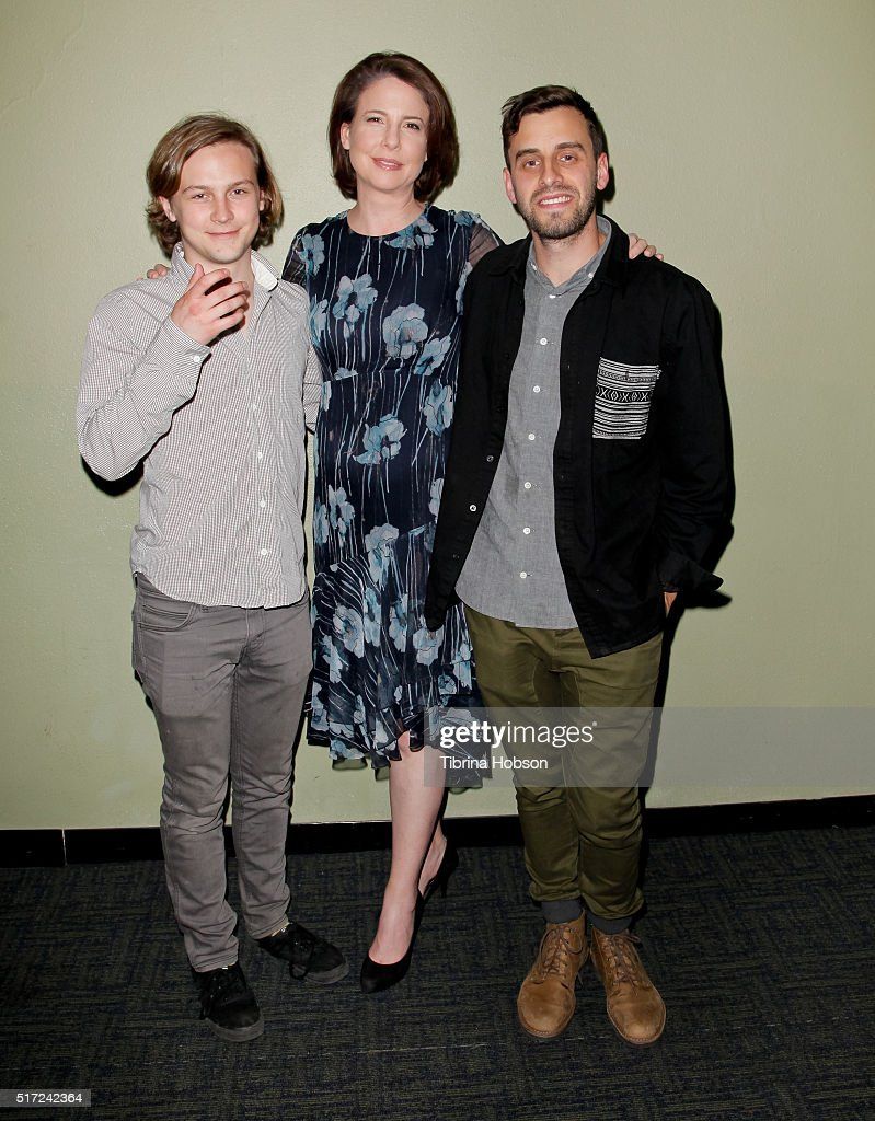 Logan Miller Robin Weigert and Matt Sobel attend the 'Take Me to The River' special Outfest screening and QA at Landmark Regent on March 23 2016 in...