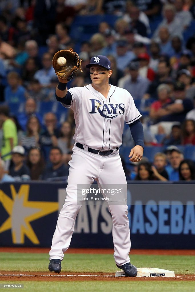 Logan Morrison of the Rays makes the catch at first base during the MLB regular season game between the Boston Red Sox and Tampa Bay Rays on August 8, 2017, at Tropicana Field in St. Petersburg, FL.