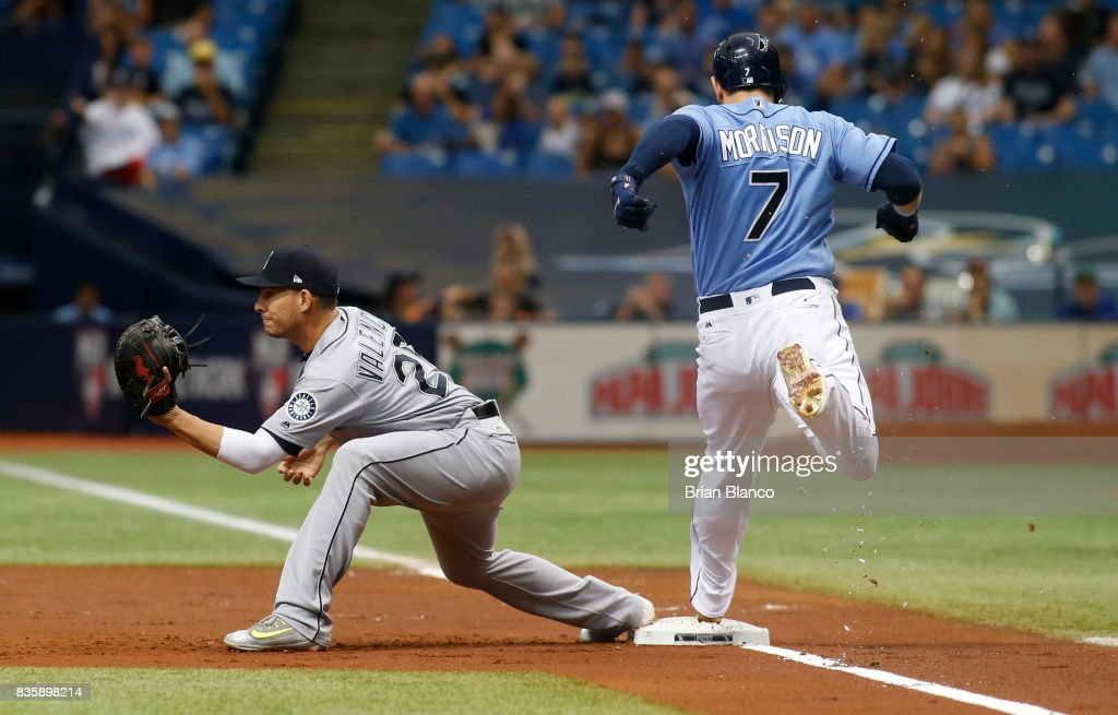 Logan Morrison #7 of the Tampa Bay Rays gets to first base ahead of first baseman Danny Valencia #26 of the Seattle Mariners off of his fielder's choice during the first inning of a game on August 20, 2017 at Tropicana Field in St. Petersburg, Florida.