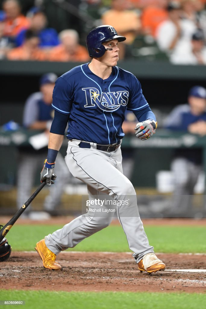 Logan Morrison #7 of the Tampa Bay Rays hits a solo home run in the ninth inning during a baseball game against the Baltimore Orioles at Oriole Park at Camden Yards on September 23, 2017 in Baltimore, Maryland.