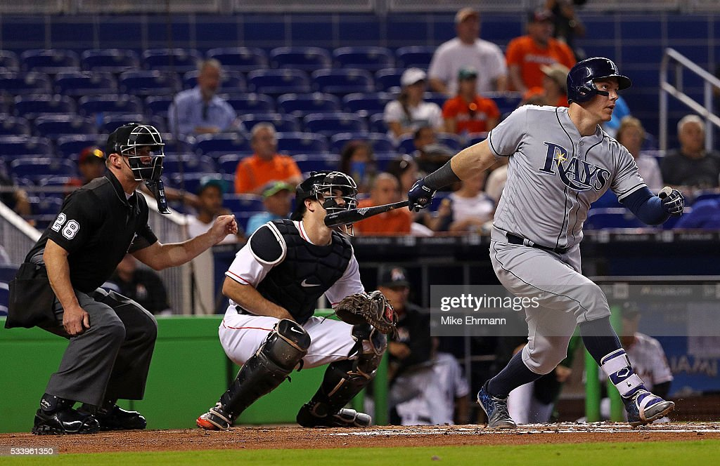 Logan Morrison #7 of the Tampa Bay Rays hits during a game against the Miami Marlins at Marlins Park on May 24, 2016 in Miami, Florida.