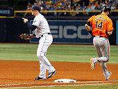 Logan Morrison of the Tampa Bay Rays points to a teammate during the top of the ninth inning after Nolan Reimold of the Baltimore Orioles was thrown...