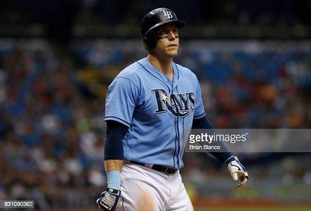 Logan Morrison of the Tampa Bay Rays reacts after striking out swinging to pitcher Corey Kluber of the Cleveland Indians during the sixth inning of a...