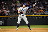 Logan Morrison of the Tampa Bay Rays throws to first base in the sixth inning against the Colorado Rockies at Coors Field on July 18 2016 in Denver...