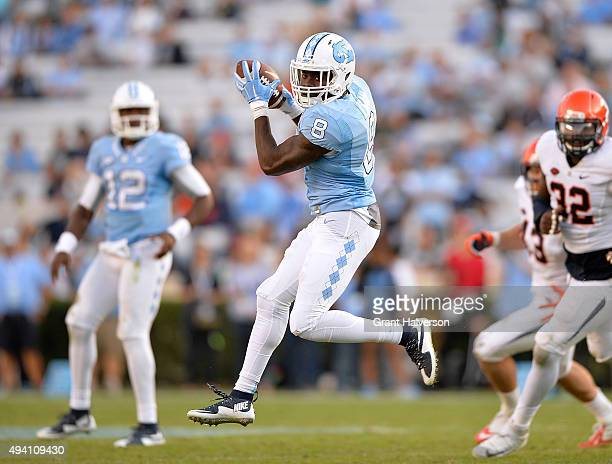J Logan of the North Carolina Tar Heels makes a catch against the Virginia Cavaliers during their game at Kenan Stadium on October 24 2015 in Chapel...