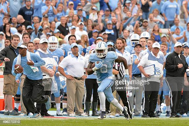 J Logan of the North Carolina Tar Heels runs against the Duke Blue Devils during their game at Kenan Stadium on November 7 2015 in Chapel Hill North...