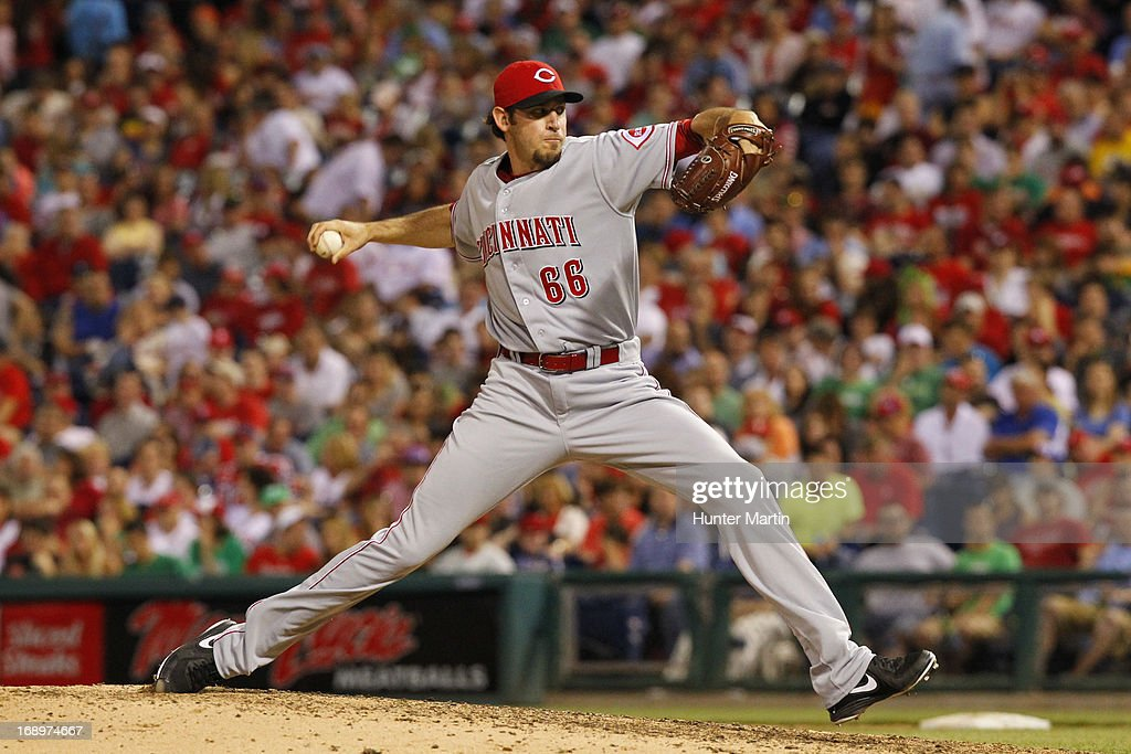 <a gi-track='captionPersonalityLinkClicked' href=/galleries/search?phrase=Logan+Ondrusek&family=editorial&specificpeople=6889117 ng-click='$event.stopPropagation()'>Logan Ondrusek</a> #66 of the Cincinnati Reds throws a pitch during a game against the Philadelphia Phillies at Citizens Bank Park on May 17, 2013 in Philadelphia, Pennsylvania. The Phillies won 5-3.