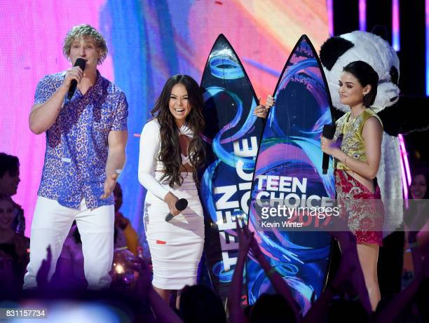 Logan Paul Janel Parrish and Lucy Hale speak onstage during the Teen Choice Awards 2017 at Galen Center on August 13 2017 in Los Angeles California