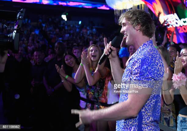 Logan Paul speaks onstage during the Teen Choice Awards 2017 at Galen Center on August 13 2017 in Los Angeles California