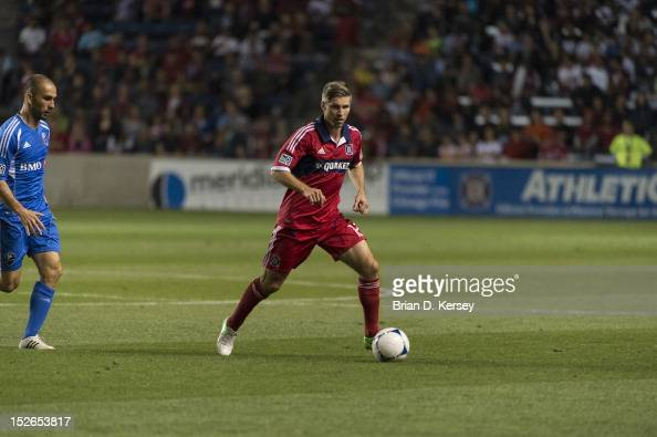 Logan Pause of Chicago Fire moves the ball against the Montreal Impact at Toyota Park on September 15 2012 in Bridgeview Illinois The Fire defeated...