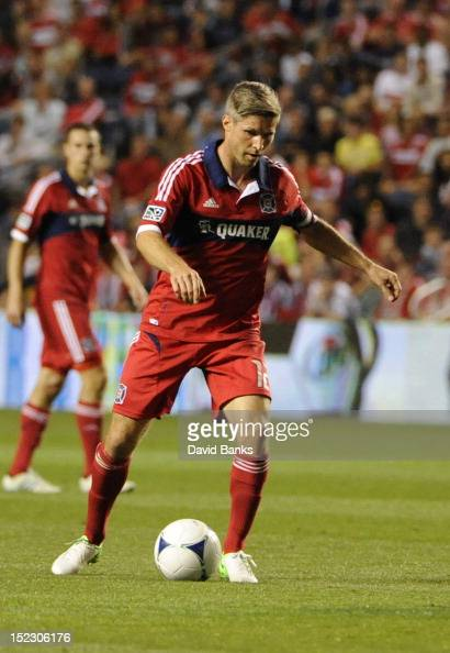 Logan Pause of Chicago Fire takes a shot against the Montreal Impact in an MLS match on September 15 2012 at Toyota Park in Bridgeview Illinois