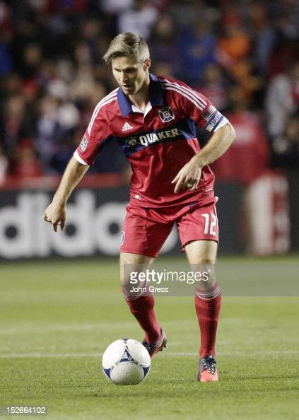 Logan Pause of the Chicago Fire advances on the Columbus Crew during their MLS soccer match at Toyota Park on September 22 2012 in Bridgeview...