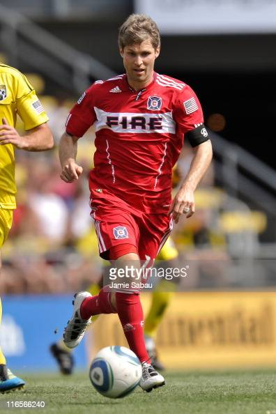 Logan Pause of the Chicago Fire controls the ball against the Columbus Crew on June 12 2011 at Crew Stadium in Columbus Ohio