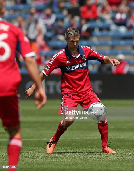 Logan Pause of the Chicago Fire controls the ball against the Philadelphia Union during an MLS match at Toyota Park on May 11 2013 in Bridgeview...