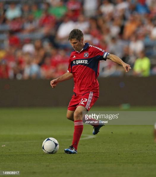 Logan Pause of the Chicago Fire controls the ball against Toronto FC during an MLS match at Toyota Park on August 4 2012 in Bridgeview Illinois The...