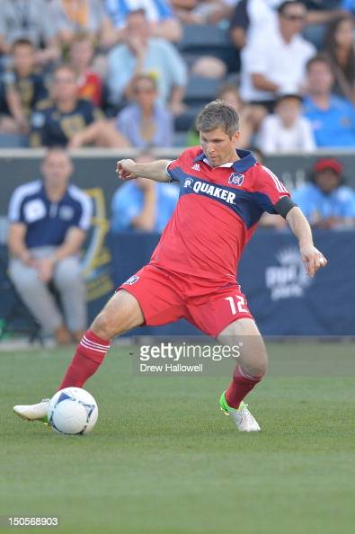 Logan Pause of the Chicago Fire controls the ball during the match against the Philadelphia Union at PPL Park on August 12 2012 in Chester...