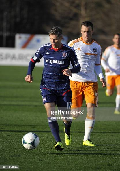 Logan Pause of the Chicago Fire during the first half of their game at Blackbaud Stadium on February 16 2013 in Charleston South Carolina