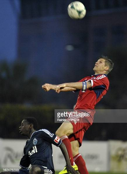 Logan Pause of the Chicago Fire goes up for a header over Kekutah Manneh of the Vancouver Whitecaps FC during the second half of a game at Blackbaud...