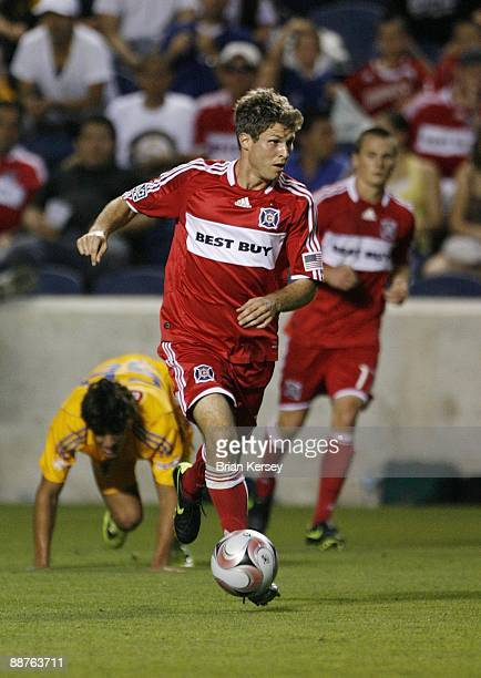 Logan Pause of the Chicago Fire handles the ball against Tigres UANL during the second half of the match in the SuperLiga 2009 soccer tournament at...