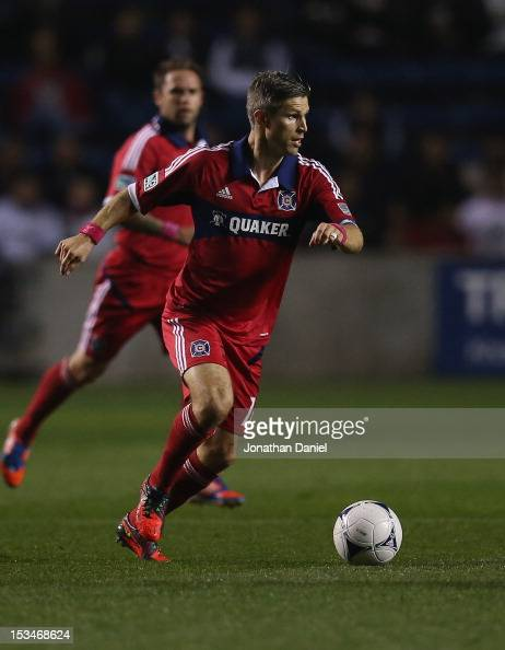 Logan Pause of the Chicago Fire moves against the Philadelphia Union during an MLS match at Toyota Park on October 3 2012 in Bridgeview Illinois The...