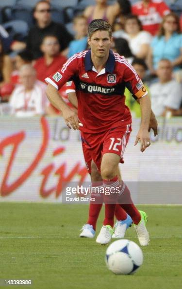 Logan Pause of the Chicago Fire moves the ball forward against the Vancouver Whitecaps in an MLS match on July 14 2012 at Toyota Park in Bridgeview...