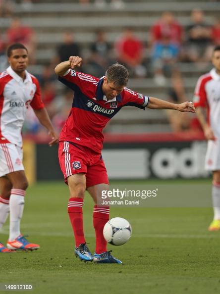 Logan Pause of the Chicago Fire passes against Toronto FC during an MLS match at Toyota Park on August 4 2012 in Bridgeview Illinois The Fire...
