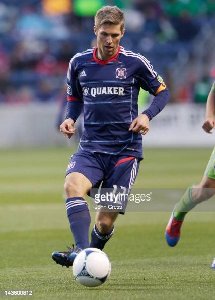 Logan Pause of the Chicago Fire plays the Seattle Sounders FC in the first half of their MLS match at Toyota Park on April 28 2012 in Bridgeview...