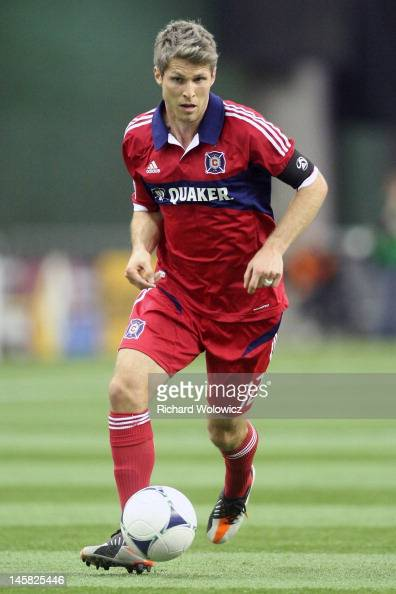 Logan Pause of the Chicago Fire runs with the ball during the MLS match against the Montreal Impact at the Olympic Stadium on March 17 2012 in...