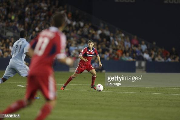 Logan Pause of the Chicago Fire works the ball against the Sporting Kansas City in the first half at Livestrong Sporting Park on September 28 2012 in...