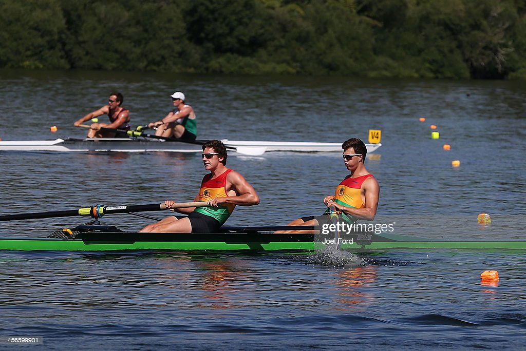 Logan Rodger and Joshua Earl of the Waikato Regional performance centre compete in the men's premier coxless pair during the Christmas Regatta 1 at Lake Karapiro on December 15, 2013 in Cambridge, New Zealand.
