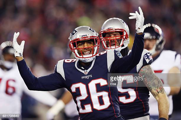Logan Ryan of the New England Patriots reacts afer a deffensive play in the first half against the Houston Texans during the AFC Divisional Playoff...