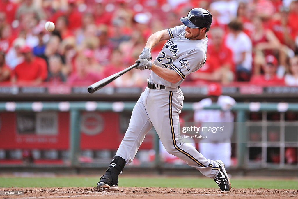 Logan Schafer #22 of the Milwaukee Brewers hits a two-RBI double against the Cincinnati Reds in the sixth inning at Great American Ball Park on June 15, 2013 in Cincinnati, Ohio. Schafer tried to stretch the double in to a triple, but was thrown out at third base.