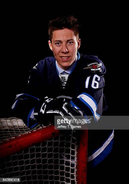 Logan Stanley poses for a portrait after being selected 18th overall by the Winnipeg Jets in round one during the 2016 NHL Draft on June 24 2016 in...