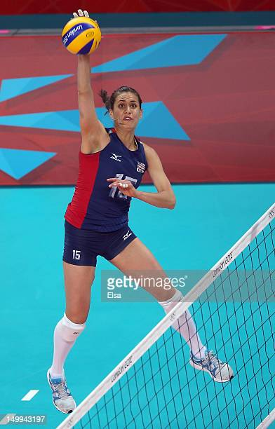 Logan Tom of the United States sets the ball in the first set against the Dominican Republic during Women's Volleyball quarterfinals on Day 11 of the...