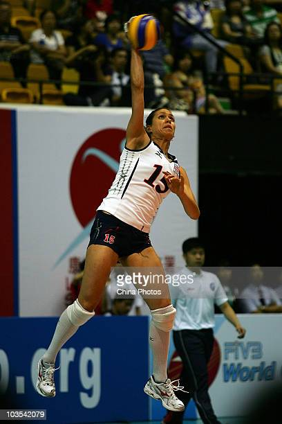 Logan Tom of USA serves during the match between USA and Thailand of the 2010 Federation Internationale de Volleyball World Grand Prix at Hong Kong...