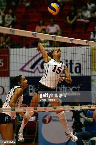 Logan Tom of USA spikes the ball during the match between USA and Thailand of the 2010 Federation Internationale de Volleyball World Grand Prix at...