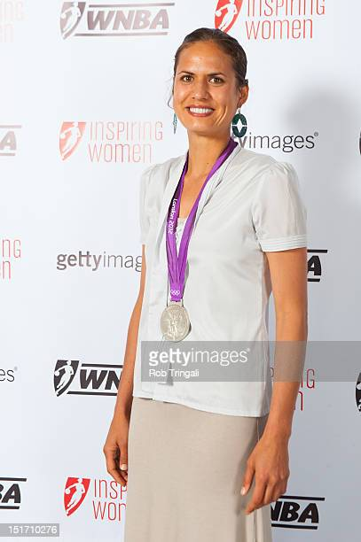Logan Tom silver medal winner in Volleyball at the 2012 Summer Olympic games poses during the WNBA Inspiring Women Luncheon at Pier Sixty at Chelsea...