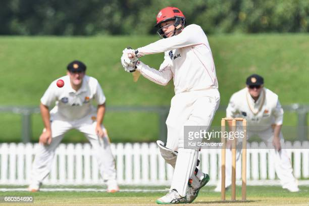 Logan van Beek of Canterbury batting during the Plunket Shield match between Canterbury and Wellington on March 30 2017 in Christchurch New Zealand