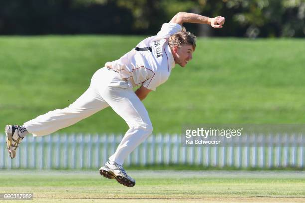 Logan van Beek of Canterbury bowling during the Plunket Shield match between Canterbury and Wellington on March 30 2017 in Christchurch New Zealand