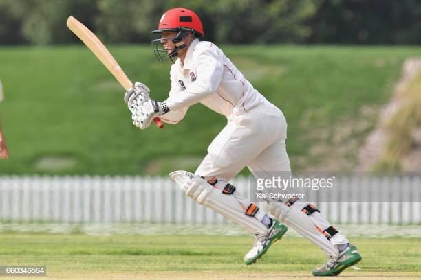 Logan van Beek of Canterbury makes a run during the Plunket Shield match between Canterbury and Wellington on March 30 2017 in Christchurch New...