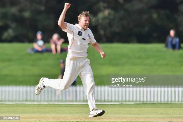 Logan van Beek of Canterbury unsuccessfully appeals for the wicket of Tom Blundell of Wellington during the Plunket Shield match between Canterbury...