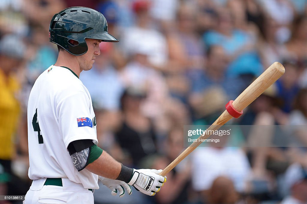 Logan Wade of Australia warms up during the World baseball Classic Final match between Australia and South Africa at Blacktown International Sportspark on February 14, 2016 in Sydney, Australia.