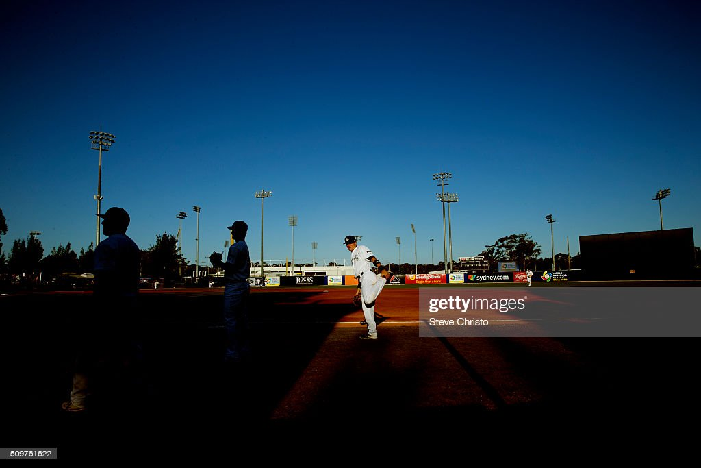 Logan Wade #4 of Team Australia stretches before Game 4 of the World Baseball Classic Qualifier against Team South Africa at Blacktown International Sportspark on Friday, February 12, 2016 in Sydney, Australia.