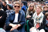 'Loge Lacoste' Actresses Pascale Arbillot Marina Fois and Melanie Thierry attend the Roland Garros French Tennis Open 2014 Day 5 on May 29 2014 in...