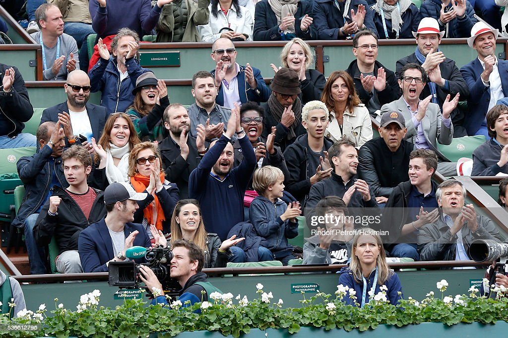 'Loge Lacoste' Stephane Freiss Jerome Commandeur Melanie Bernier Manu Katche with his wife Laurence Pascal Legitimus with his wife Adriana Santini...