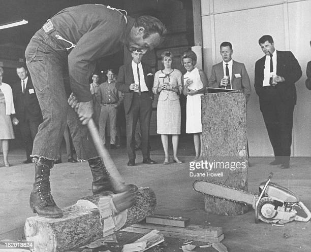 JUN 23 1967 Logger Demonstrates Skill Harold Johnson billed as the world champion logger staged a show Thursday at grand opening of Weyerhaeuser Co's...