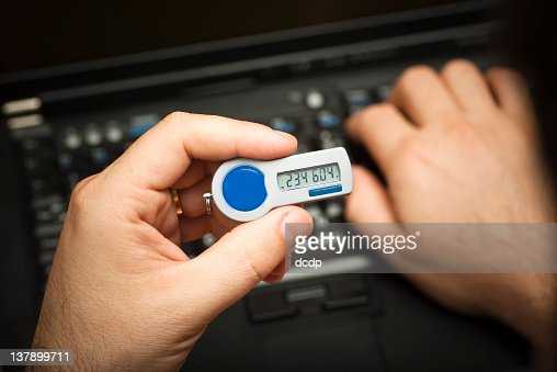 Logging on using a 2nd factor authentication token : Stock Photo
