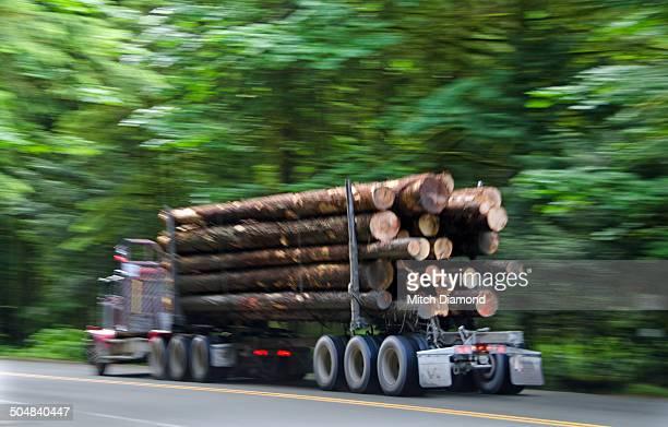 Logging truck in motion
